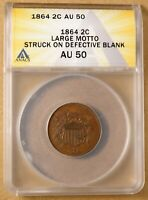 1864 TWO CENT PIECE 'LARGE MOTTO' 'STRUCK ON DEFECTIVE BLANK