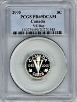 CANADA 2005 FIVE CENTS PCGS PR69DCAM 60TH ANNIV OF VE DAY   STERLING