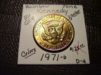RAINBOW TONE GOLD & PURPLE 1971 D  KENNEDY HALF DOLLAR  BU G