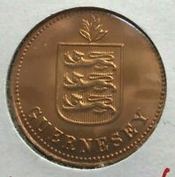 1929 GUERNSEY 2 DOUBLES   RED UNCIRCULATED