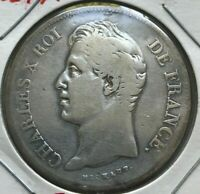 1827 A FRANCE 5 FRANCS   BIG SILVER   CLEANED