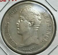 1829 W FRANCE 5 FRANCS   BIG SILVER    DATE   BETTER CONDITION