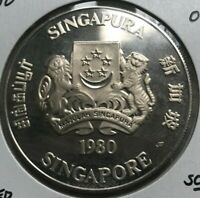 1980 SINGAPORE 50 DOLLARS SILVER PROOF   ONLY 15 000 MINTED