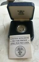 1985 GREAT BRITAIN 1 ONE POUND SILVER PROOF   NEW IN BOX WITH COA