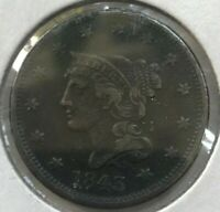 1843 BRAIDED HAIR LARGE CENT   NICE EXTRA FINE DETAILS   REVERSE SCRATCHES