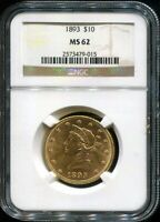 1893 LIBERTY HEAD EAGLE GOLD COIN  NGC MS62