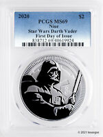 2020 NIUE $2 DARTH VADER 1OZ SILVER COIN PCGS MS69 FIRST DAY