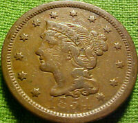 1854 BRAIDED LARGE CENT 1C   BRIGHT HIGHER GRADE COIN W/ SOLID DETAILS 61AJ