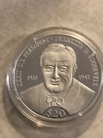 LIBERIA 20 DOLLARS SILVER PROOF COIN  FRANKLIN D ROOSEVEIT