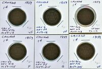 CANADA LOT OF 6X 1859 LARGE CENTS