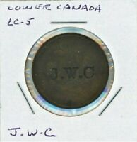 LOWER CANADA TOKEN LC 5A COUNTERMARKED J.W.C ON BOTH SIDES