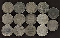 NEWFOUNDLAND LOT OF 14 SILVER 10 CENTS 1890 1946