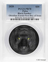 2020 $10 PALAU BLACK PANTHER PCGS PR70 OBSIDIAN FINISH FIRST