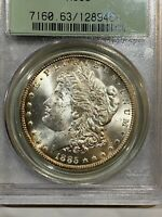 1885-CC MORGAN SILVER DOLLAR - PCGS MINT STATE 63   OLD GREEN HOLDER  OGH   454