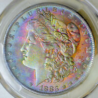 1883-O PCGS MINT STATE 63 CAC MORGAN $ SUPERB NEON MONSTER RAINBOW TONING JH @@@
