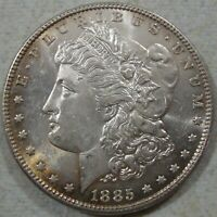1885-P MORGAN SILVER DOLLAR - AU CONDITION W/STRONG PL FIELDS