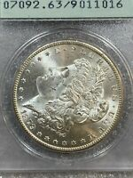 1879-S MORGAN SILVER DOLLAR PCGS MINT STATE 63  PROOF LOOK  VINTAGE RATTLER HOLDER