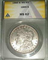 1885 P MORGAN SILVER DOLLAR MINT STATE 62 ANACS