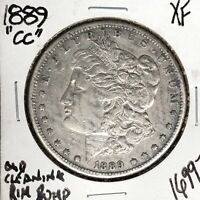 1889-CC MORGAN SILVER DOLLAR EXTRA FINE  OLD CLEANING RIM BUMP  COIN