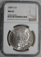 1889-S MORGAN SILVER $1 - BLAST WHITE - CHOICE BRILLIANT UNCIRCULATED - NGC MINT STATE 63