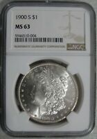 1900-S MORGAN SILVER $1 - BLAST WHITE - CHOICE BRILLIANT UNCIRCULATED - NGC MINT STATE 63