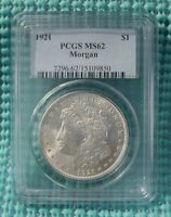 1921 MORGAN SILVER DOLLAR - GRADED BY PCGS MINT STATE 62 - 90 SILVER