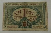 1920 MONACO 1 ONE FRANC   WORLD CURRENCY BANKNOTE