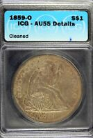 1859   O ICG AU55 DETAILS  CLEANED  SEATED LIBERTY SILVER DO