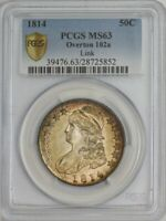 1814 CAPPED BUST HALF 50C O-102A, R.2 MINT STATE 63 PCGS SECURE 944277-5