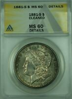 1881-S MORGAN SILVER DOLLAR $1 COIN ANACS MINT STATE 60 DETAILS TONED BETTER COIN 30