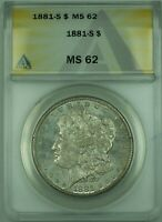 1881-S MORGAN SILVER DOLLAR $1 COIN ANACS MINT STATE 62 TONED 30