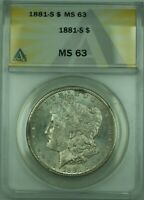 1881-S MORGAN SILVER DOLLAR $1 COIN ANACS MINT STATE 63 LIGHTLY TONED 30 B