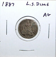 1887 US LIBERTY SEATED SILVER DIME ABOUT GOOD DETAILS 74C