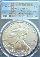 2021 .999 SILVER EAGLE SAN FRANCISCO EMERGENCY PRODUCTION PCGS MS70 FS PERFECT