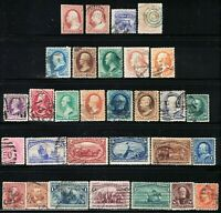 U.S. NICE LOT OF 30 DIFFERENT OLD STAMPS FROM THE 1850'S UP