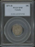 1871 H SILVER 10 CENTS PCGS EF45