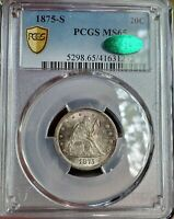 1875 S 20C MS65 PCGS   CAC APPROVED  AMAZING TONING