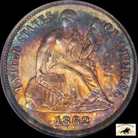 1862 SEATED LIBERTY DIME NGC MS 66 OLD HOLDER TONED