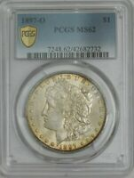 1897-O MORGAN SILVER DOLLAR $ MINT STATE 62 SECURE PCGS 944210-3