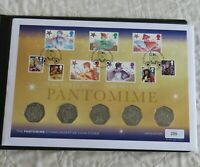 GUERNSEY 2019 THE PANTOMIME 5 X B/UNC 50 PENCE SET - COIN COVER/COA