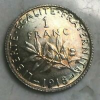 1898 FRANCE 1 ONE FRANC   TONED UNCIRCULATED
