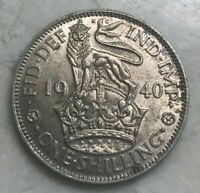 1940 GREAT BRITAIN 1 ONE SHILLING   TONED SILVER