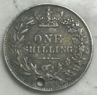 1884 GREAT BRITAIN 1 ONE SHILLING   HOLED