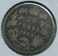 1872 H CANADA 25 CENTS