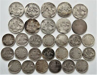 30 PRE 1946 SILVER AUSTRALIAN SIXPENCE THREEPENCE COINS POOR