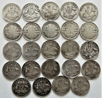 24 PRE 1946 SILVER AUSTRALIAN THREEPENCE COINS POOR COND 32.