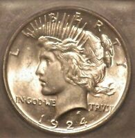 1924 PEACE DOLLAR ICG MINT STATE 62 VAM 1BR TOP POP - ONLY ONE GRADED - SHIPS FREE