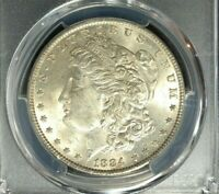 1884 MORGAN SILVER DOLLAR  PCGS MINT STATE 62 BEAUTIFUL COIN REF3706