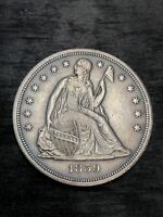 1859 S SEATED SILVER DOLLAR  AU DETAILS