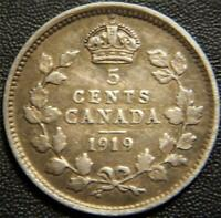 1919 CANADIAN SILVER FIVE CENT   FULL EAR AND PARTIAL BANDS